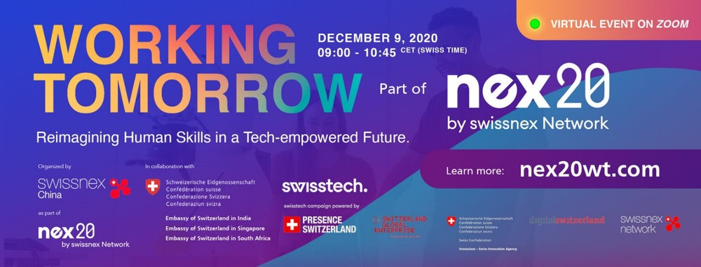 Working Tomorrow virtual event as part of the nex20 campaign by swissnex Network